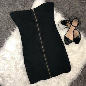 Bandage Zip up Black Dress